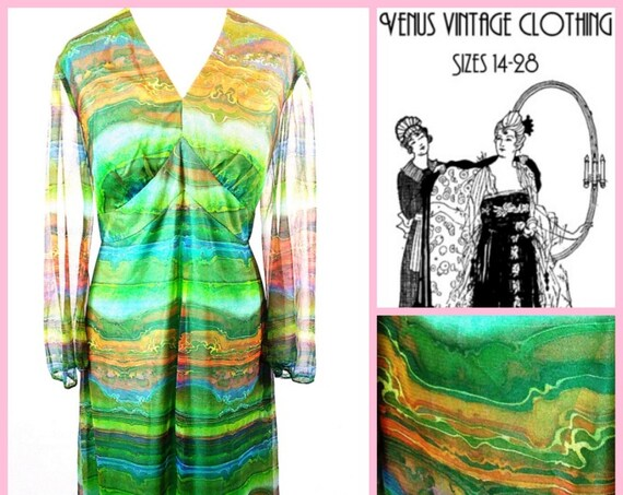 "Volup UK 16 Vintage 1970s Maxi Dress Chiffon Psychedelic Sheer Sleeves Boho Tall EU 44 US 12 Bust 42"" 107cm"