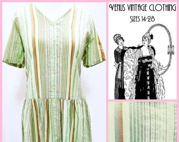 """Volup UK 18 Vintage 1920s-Style Cotton Dress Stripes Downton Flapper EU 46 US 14 Bust 44"""" 112cm"""