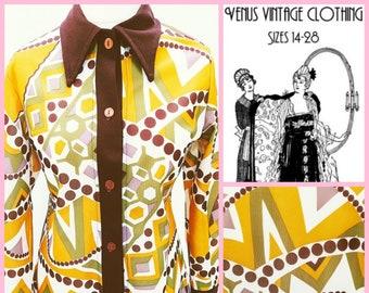 "Volup UK 16 Vintage 1970s Psychedelic Tunic Smock Top Op Art Geometric Brown Gold EU 44 US 12 Bust 42"" 107cm"