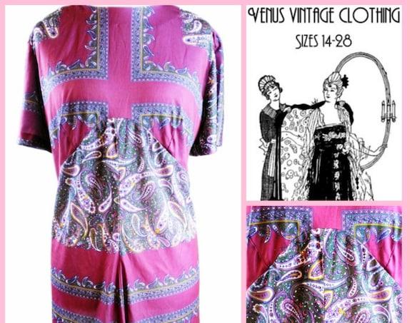 "Volup Vintage UK 26 1970s Shift Dress Paisley Boho Silky Curvy EU 54 US 22 Bust 52""  133cm"