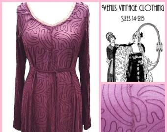 "Volup UK 22 Vintage 1980s Maxi Dress Boho Hippie Goddess Burgundy Embroidery  Festival Tall  EU 50 US 18 Bust 48"" 122cm"