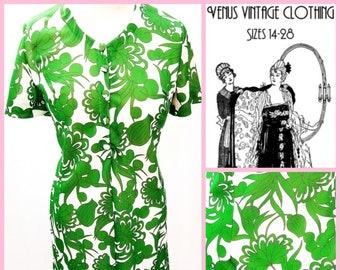 """Volup UK 18 1970s Vintage Shift Dress Psychedelic Mod Floral EU 46 US 14 Bust 44"""" 112cm"""