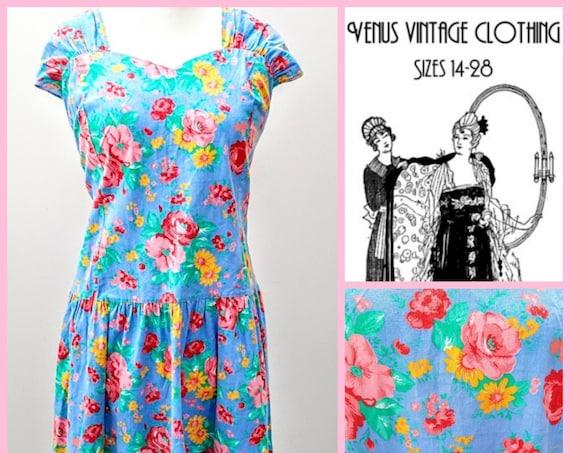 """Volup UK 22 Vintage Sun Dress Cottagecore 1950s-Style Floral Blue Pink  EU 50 US 18 Bust 48"""" 122cm"""
