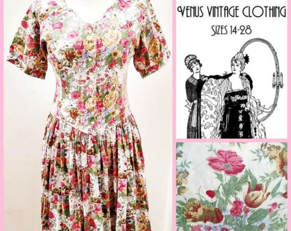 "UK 14 Vintage Floral Tea Dress Cottagecore 1950s-Style Floral Pink Gold Roses R EU 42 US 10 Bust 40"" 102cm"