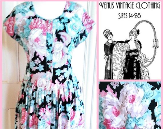"""Plus Size UK 16 Vintage 1950s-style Tea Dress  Cottagecore Floral Roses Pink Green EU 44 US 12 Bust 42"""" 107cm"""