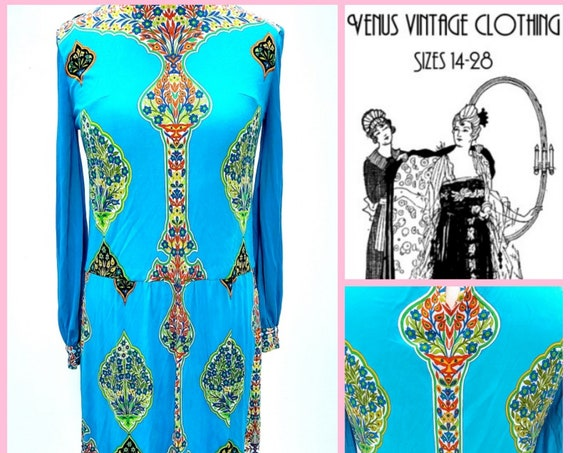 "UK 14 Vintage 1970s Midi Dress Psychedelic Boho Silky EU 42 US Bust 40"" 102cm"