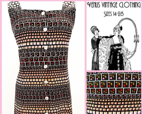 "Volup Vintage 1970s Shift Dress Geometric Folk Art Deco UK 16 EU 44 US 12 Bust 42"" 107cm"