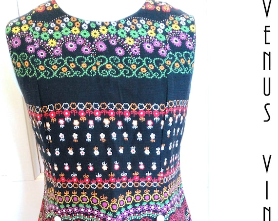 "Plus Size UK 18 Vintage 1960s Mini Dress Tunic GoGo Psychedelic Mod Boho EU 44 US 14 Bust 44"" 112cm"
