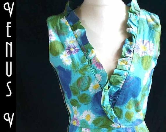 """UK 12 14 Vintage 1960s Wrap Dress Wiggle Handmade Floral Blue Green Mad Men US 8 10 Bust to 40""""  102cm"""