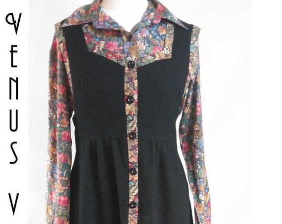 "UK 10 1970s Vintage Wallis Pinafore Dress Angora  Wool + Floral Silk Blouse Boho EU 38 US 6 Bust 36"" 92cm"