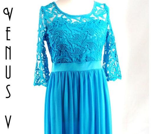 "UK 14 Vintage 1970s Maxi Dress Boho Blue Lace Crochet Chiffon Floaty Tall EU 42 US 10 Bust 40"" 102cm"