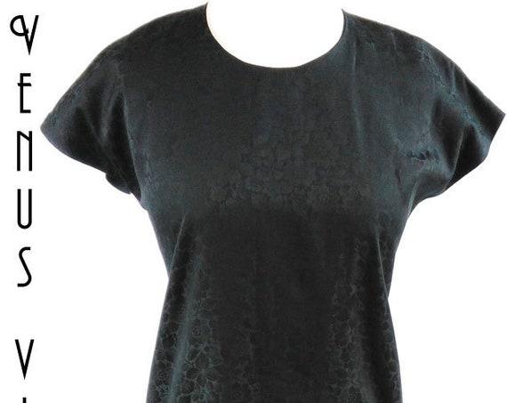 """UK 14 Vintage 1970s Black Shift Dress Jacquard Cocktail Wiggle Bust 40"""" 102cm EU 42 US 10"""