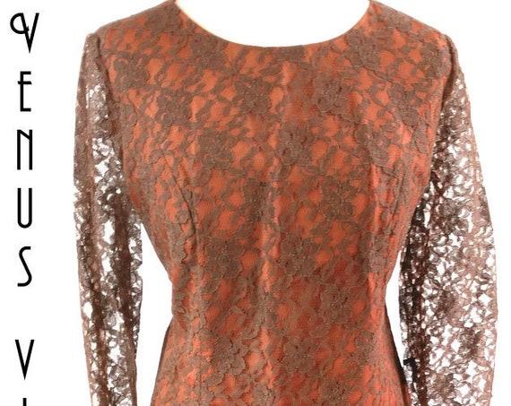 "Plus Size UK 16 1960s Lace Cocktail Dress Wiggle Sheath Philip Kunick EU 44 US 12 Bust 42"" 107cm"