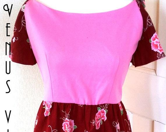 "UK 14 Vintage 1960s Pink Gypsy Dress Dolly Psychedelic Floral Boho Cotton EU 42 US Bust 40"" 102cm"
