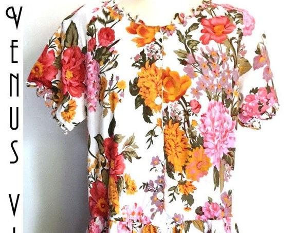 """Plus Size UK 18 Vintage Tea Dress Floral Cotton Chintz Roses Bust 44"""" 112cm EU 46 US 14"""