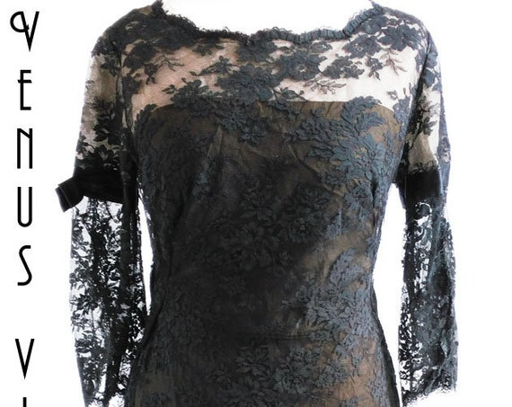 "Plus Size UK 16 Vintage 1960s Black Lace Cocktail Dress Wiggle Mad Men Goth Cresta Couture Bust 42"" 107cm EU 44 US 12"