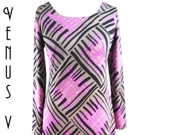 "UK 14 Vintage 1970s Maxi Dress Op Art Geometric Psychedelic Boho Silky EU 42 US Bust 40"" 102cm"