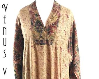 "Plus Size UK 24 Vintage 1970s Gold Silk Kaftan Ethnic Paisley Boho Hippy EU 52 US 20 Bust 50"" 127cm"