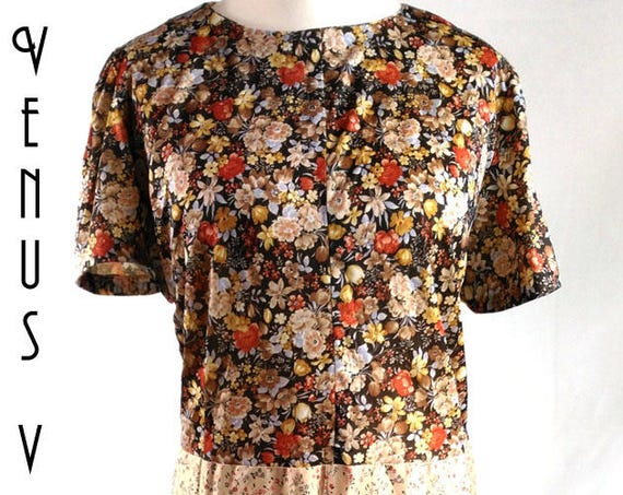 "Plus Size UK 26 Vintage 1970s Dress Gold Brown Floral Silky Babydoll Sissy EU 54 US 22 Bust 52""  133cm"