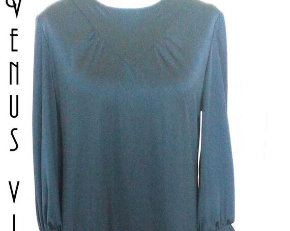 """Plus Size UK 16 Vintage 1970s Black Satin Cocktail Dress EU 44 US 12 Bust 42"""" 107cm"""