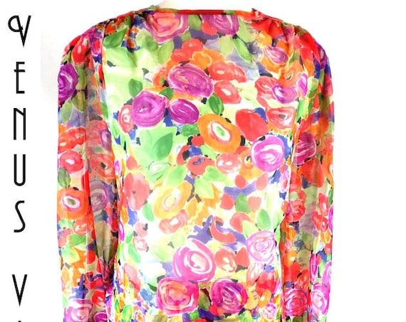 "Plus Size UK 22 1980s Vintage Chiffon 2 Piece Maxi Dress + Tunic Boho Floral John Neville EU 50 US 18 Bust 48"" 122cm"
