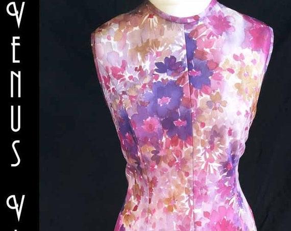 """Plus Size UK 18 1970s Vintage Floral Shift Dress Mod Andres de Brett EU 46 US 14 Bust 44"""" 112cm"""