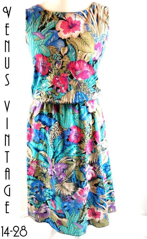 959507894e Plus Size UK 18 Tea Sun Dress Floral Tropical Cotton Festival | Etsy