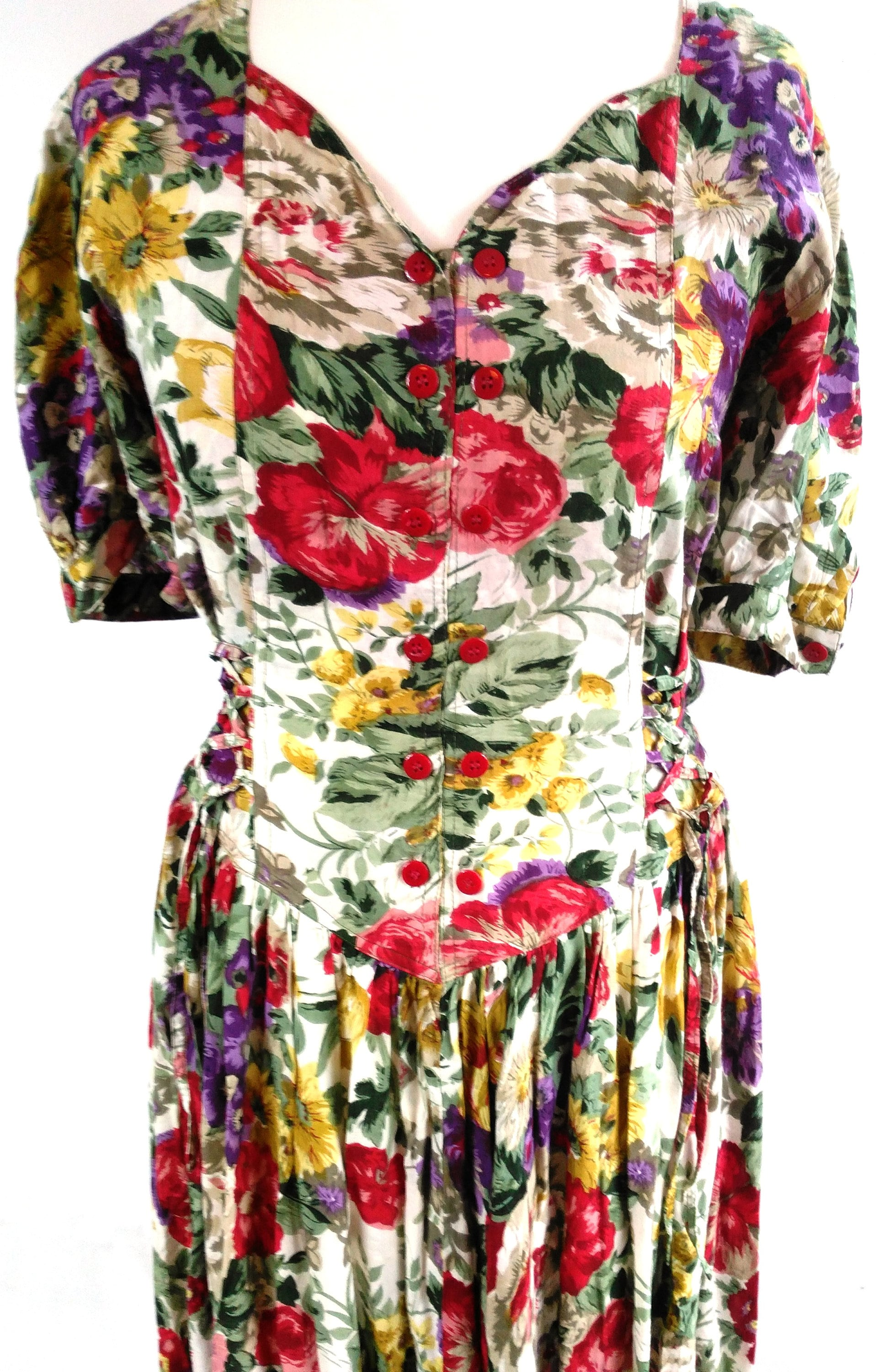 Plus Size UK 20 80s Vintage 50s-Style Tea Dress Floral Circle ...