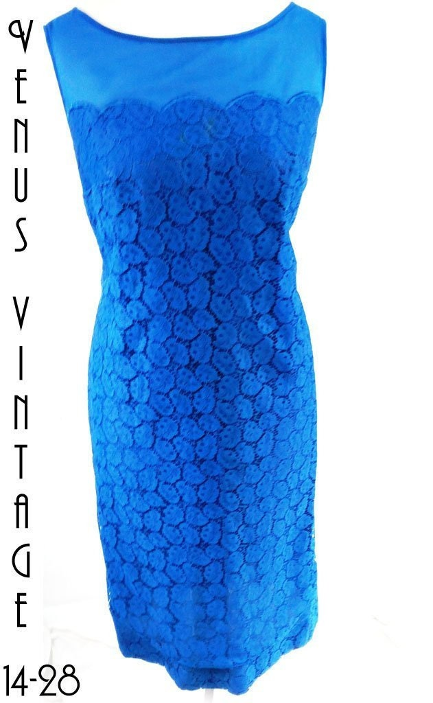 7424273a033 UK 14 Vintage 1960s Royal Blue Lace Wiggle Dress Cocktail Mod US 10 Bust  40