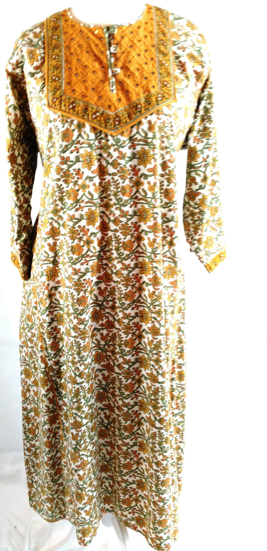 9ddbe606f8a Plus Size UK 24 Vintage Indian Cotton Dress Kaftan Block Print Mirrors  Floral Ethnic Hippy EU 52 US 20 Bust 50