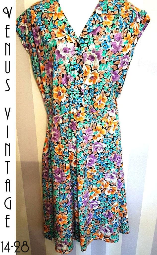 Plus Size UK 20 Vintage 1950s-Style Floral Tea Dress Cotton ...