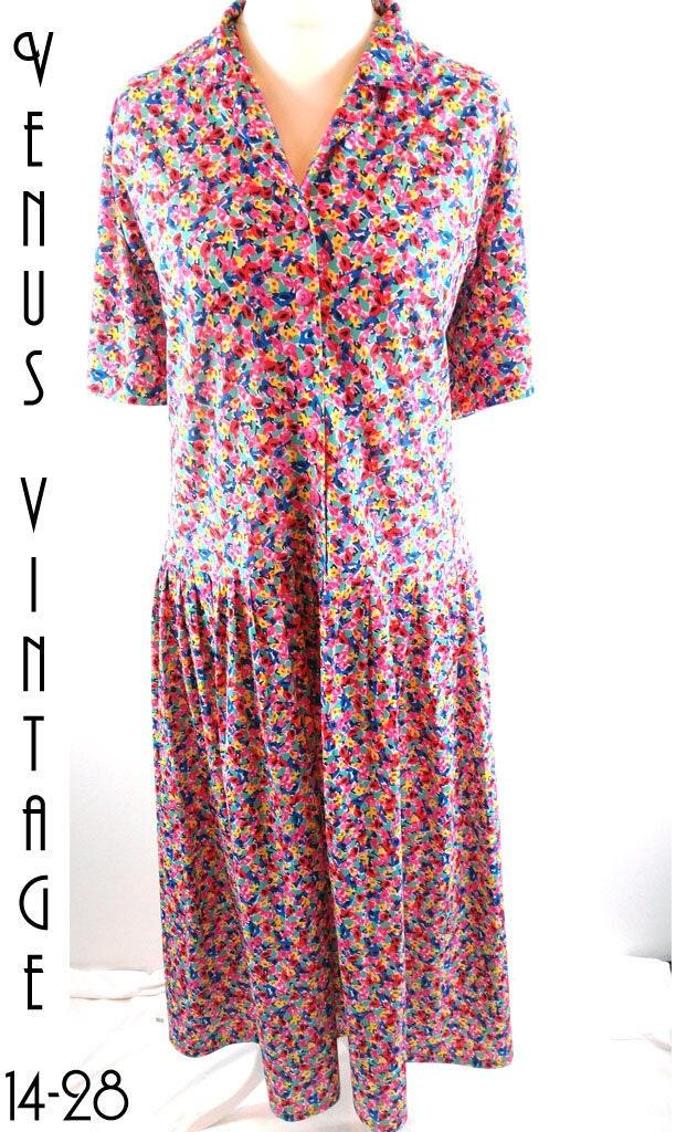 Plus Size UK 22 Vintage 1920s-Style Floral Tea Dress Drop ...