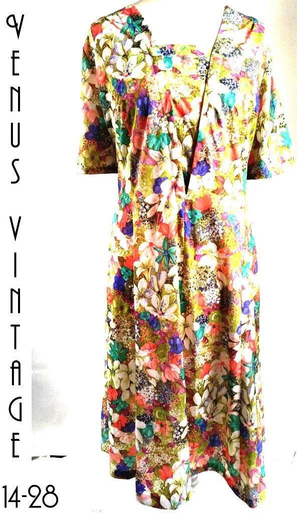 Plus Size UK 24 Vintage 1940s-Style Tea Dress Wildflower ...