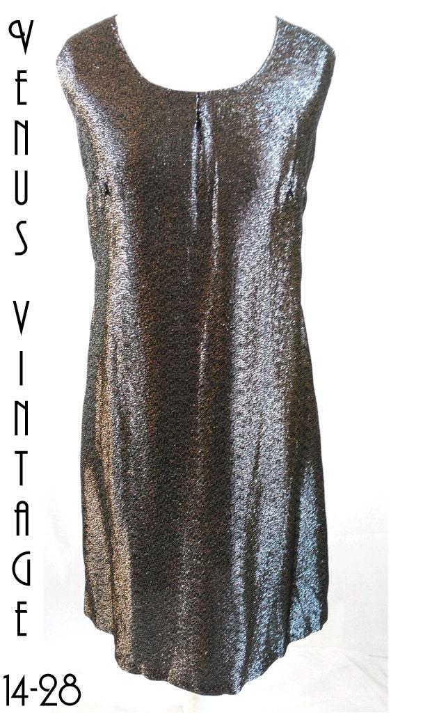 Plus Size Uk 20 Vintage 1960s Black Silver Lurex Shift Dress