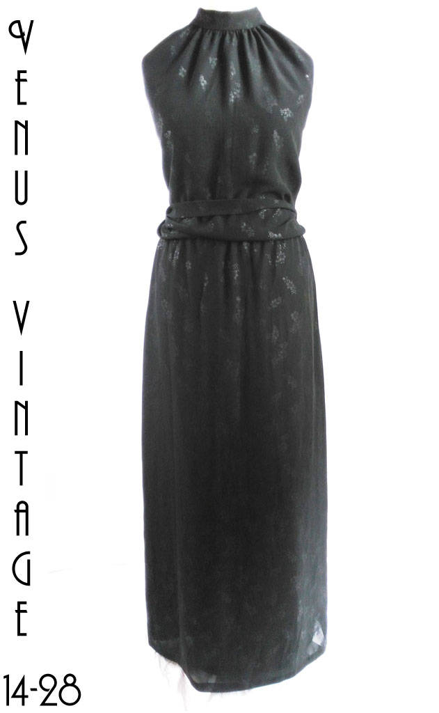 Plus Size UK 22 Vintage 1930s-Style Black Halter Neck Maxi Evening ...