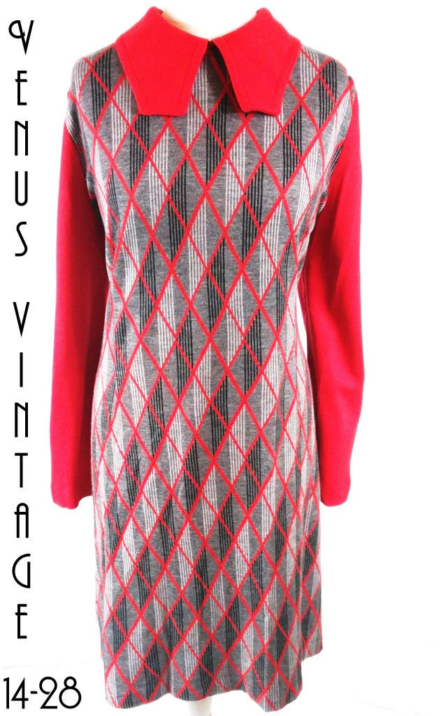 0b7e1d7b11c Plus Size UK 22 Vintage 1970s Geometric Wool Mix Dress Zip Front Secretary  Geek EU 50 US 18 Bust 48