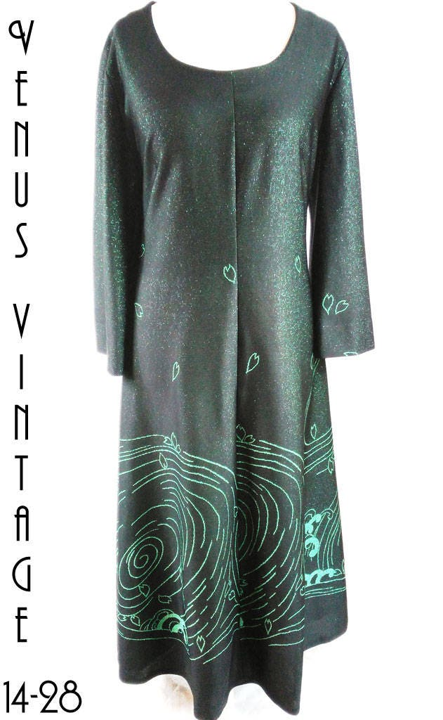 Plus Size UK 24 Vintage 1960s Maxi Dress Metallic Green ...