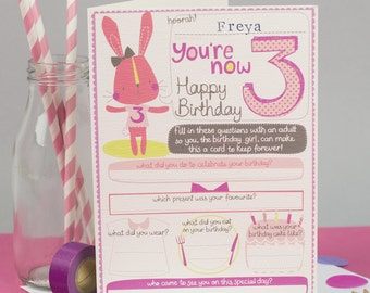 3rd Birthday Card Personalized For Her Girls Third Milestone To Keep