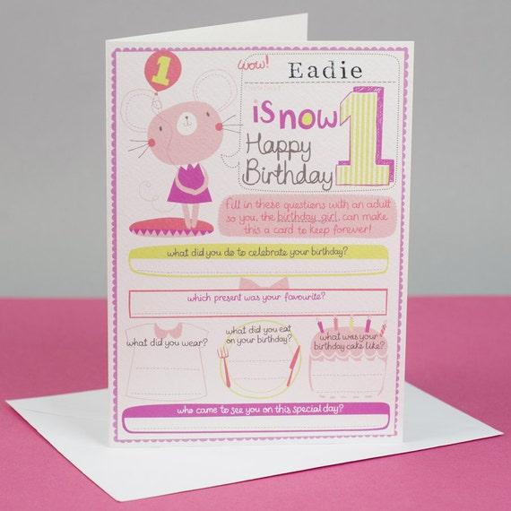 1st Birthday Card Girls Personalized 1st Birthday Card Etsy