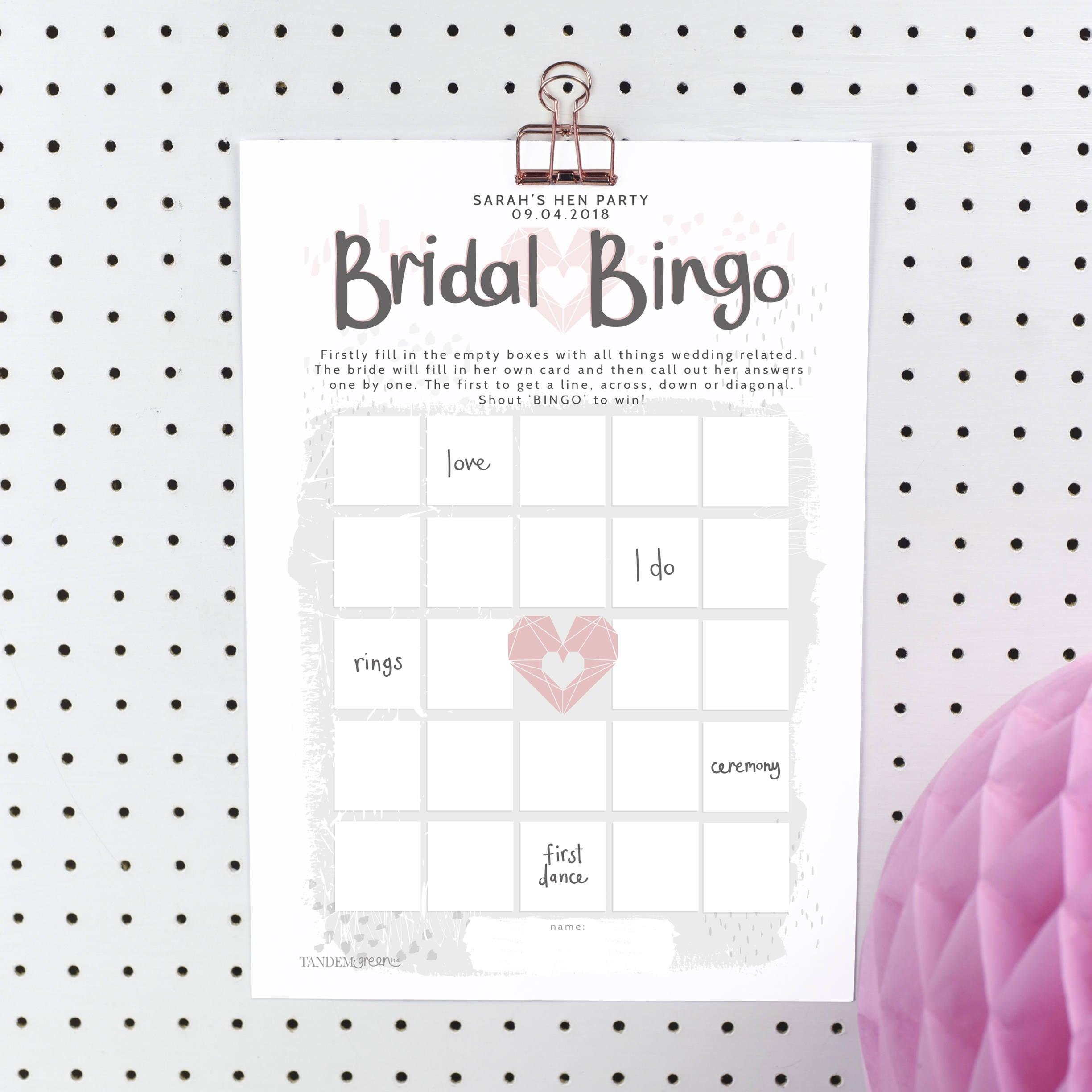 Bridal Bingo Hen Party Games personalised Bridal Shower | Etsy
