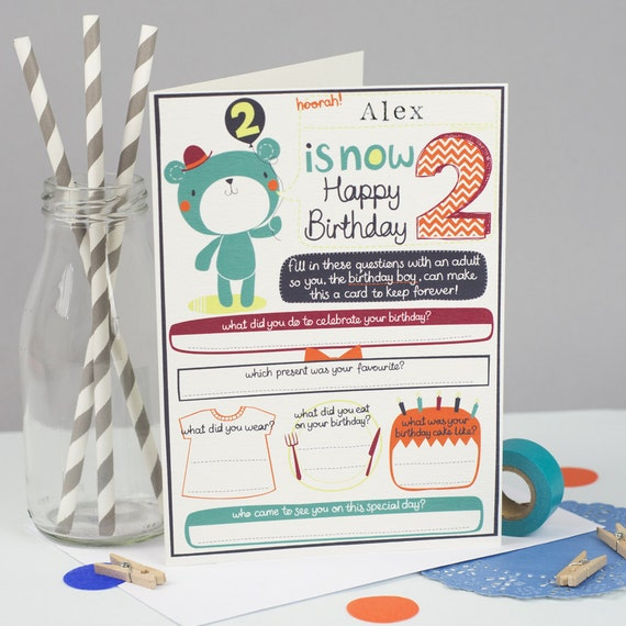 2nd Birthday Card Personalized Boys 2nd Birthday Card Free Etsy