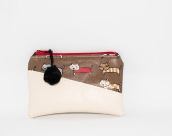 Eddie Card wallet - credit card case - key chain - small zippered pouch - coin purse - cat lover