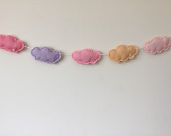 Cloud banner. Door hanging. Wall hanging. Bunting. Garland. Cloud. Nursery decoration. Childs bedroom. Nursery. Handmade.