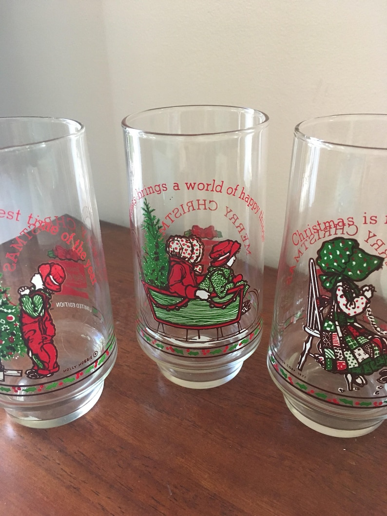 Holly Hobbie Coca Cola It/'s Time For Christmas Vintage 1977 Drinking Glass