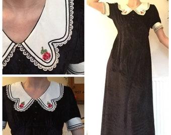 Peter pan collar velvet dress | Etsy