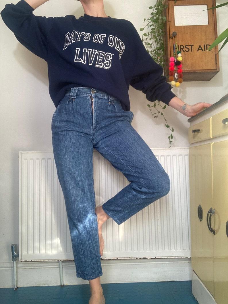1980s Vintage high waisted blue jeans tapered leg jeans uk 8 10 waist 27\u201d