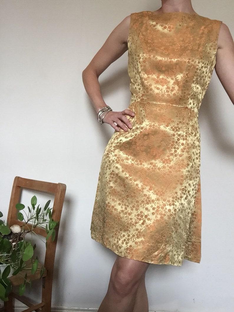 737ab7883d65 Vintage 60s gold orange brocade silk dress uk 10. Wedding