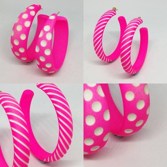 Vintage 1980s Neon Pink Hoop Earrings