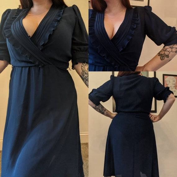 Vintage 1980s Sheer Navy Blue Floaty Dress Ruffled