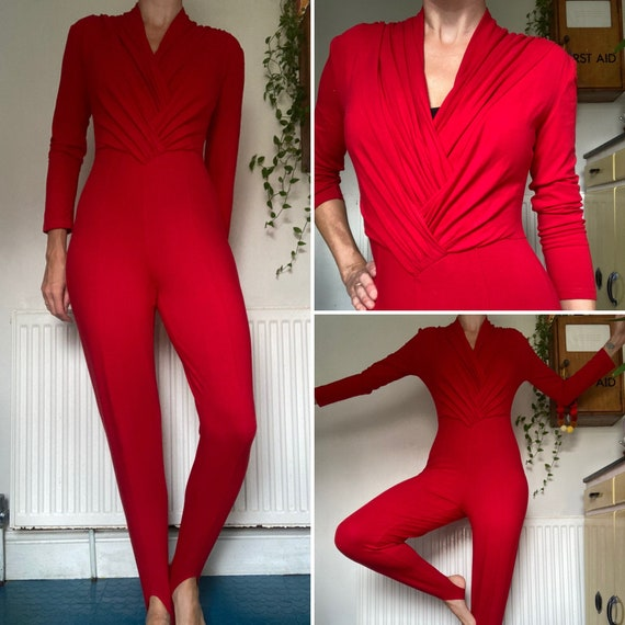 Vintage 1980s Red stretch Jumpsuit  leotard UK siz